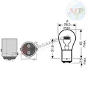 E034000 SCATOLA 10PZ LAMPADINE BILUX 12V 21/5W BAY15D