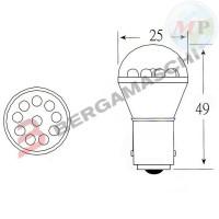 E03002602 OKYAMI BLISTER 2 LAMPADINE LED 12V BA15S S25 ROSSA 18 LED