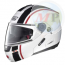 N91025 CASCO NOLAN HELMET INTEGRALE EVO STRIP N-COM METAL WHITE