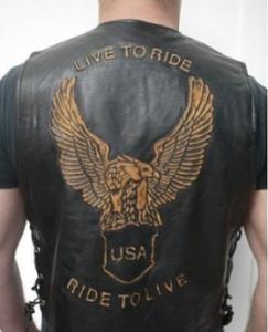 Gilet in cuio nera Harley Davidson con scritta e Aquila